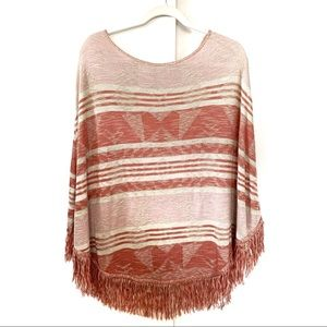 XL HIPPIE LAUNDRY tribal print poncho sweater